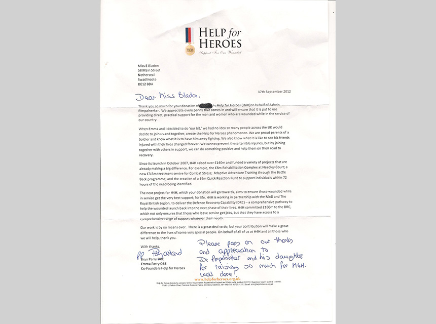 A letter of thanks from Help the Heros for Mr Pimpalnerkar's donation