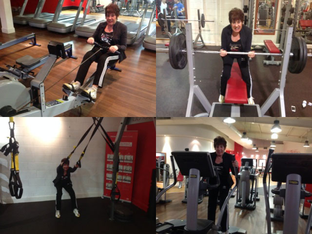 Marie Hemming working out in the gym